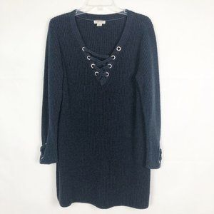 Style & Co. Long Sleeve Criss Cross Blue Sweater